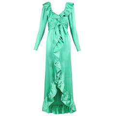 Givenchy Haute Couture Sea Foam Green Silk Gown W/Ruffle Neckline No. 70369