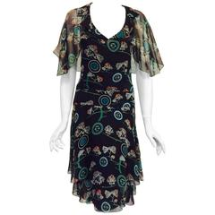 Chanel Spring 2001 Chocolate Silk Floral and Logo Print Dress Original Tags