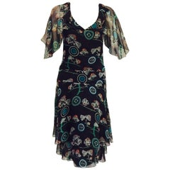 Chanel Dark Chocolate Silk Floral and Logo Print Dress, Spring 2001