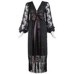 Givenchy Haute Couture Black Silk Embroidered Gown With Fringe Detail No 57292