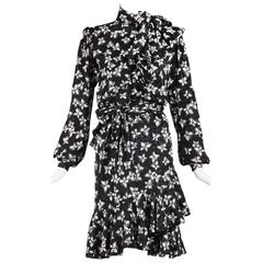 Vintage Yves Saint Laurent YSL Haute Couture Silk Butterfly Print Dress No.54033