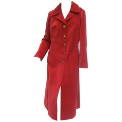 Roberta di Camerino Scarlet Red Velvet Coat Made in Italy c 1970
