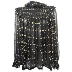 YVES SAINT LAURENT black silk blouse