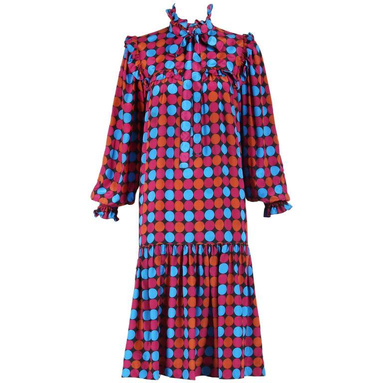 1970's Yves Saint Laurent YSL Geometric Print Silk Ruffled Day Dress