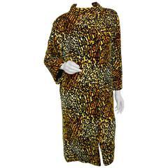 Bill Blass for Bond Street Leopard Print Velvet Coat 1970s Sz M