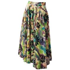 50s Watercolor Print Flared Skirt