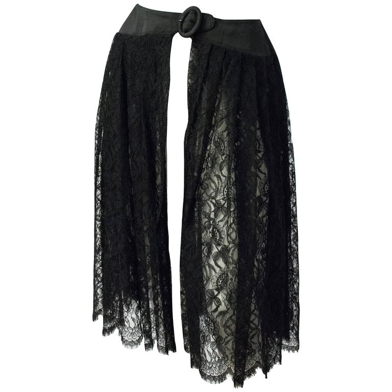 50s Black Lace Belted Hostess Skirt