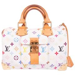 Louis Vuitton Speedy 30 Murakami Multicolor Monogram Canvas - white