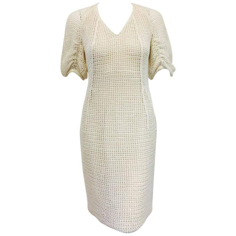 Akris Ivory Cotton Crochet V-Neck Sheath With Ruched Sleeves