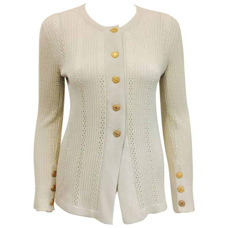 Chanel Metallic Dove Grey Light Weight Cardigan With Gold Tone Logo Buttons