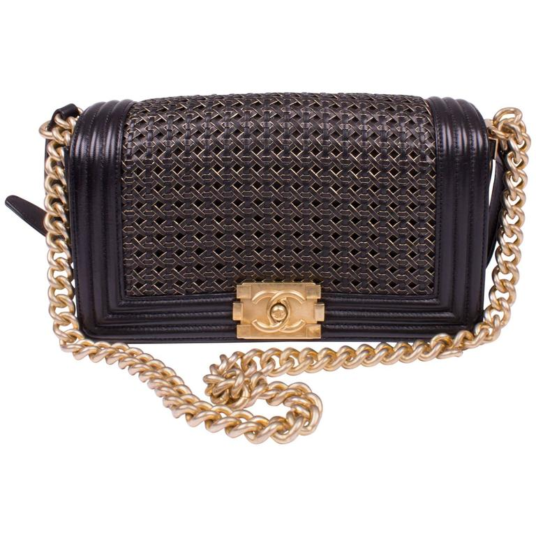 369272c210eb Chanel Le Boy Bag Woven Limited Edition Spring 2014 - black/gold For Sale