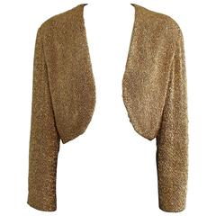Vintage Anne Klein Gold Metallic Bolero Jacket