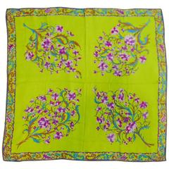 Emilio Pucci Lime Green Silk Printed Sheer Scarf With Fragrant Flowers