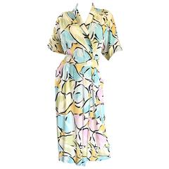 "Betty White's "" Golden Girls "" Vintage 1980s Boho Pastel Abstract Shirt Dress"
