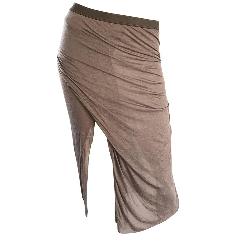 Rick Owens Dust Light Brown Asymmetrical Bodycon Runway Skirt or Strapless Top  For Sale