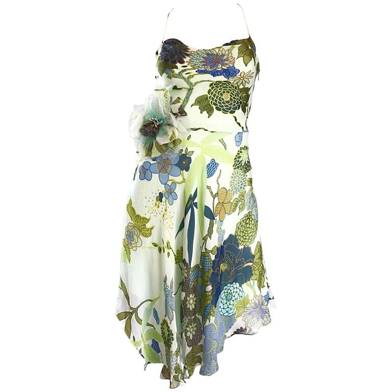 Beautiful 1990s Jenny Packham Silk Chiffon Flower Printed Handkerchief Hem Dress For Sale