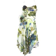 Beautiful 1990s Jenny Packham Silk Chiffon Flower Printed Handkerchief Hem Dress