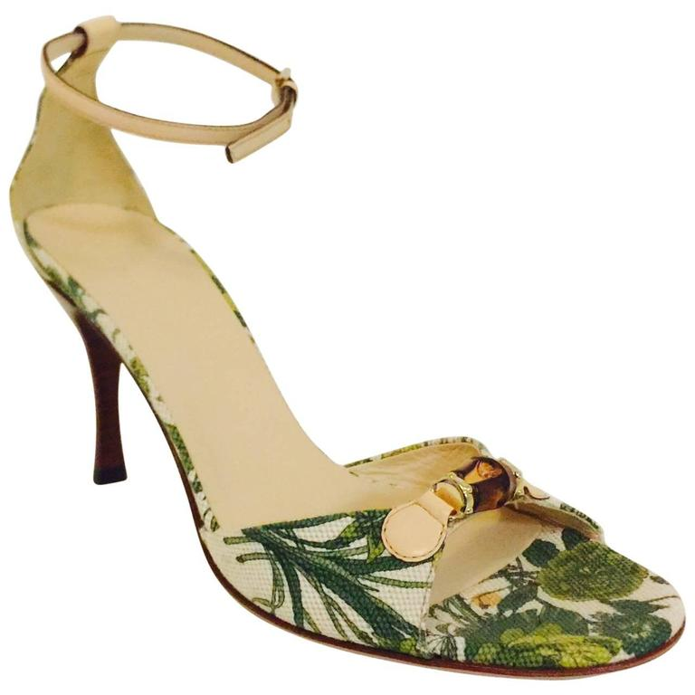 58609fa8b1d7 Gucci Tapestry Inspired Floral High Heel Sandals W Ankle Straps and Bamboo  For Sale