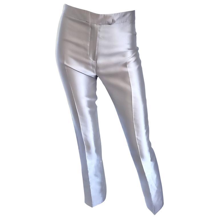 Oscar de la Renta 1990s Silver Metallic Size 2 High Waist Skinny Cigarette Pants