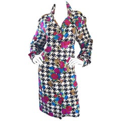 Amazing 1990s Size 12 Black and White Houndstooth Flower 90s Silk Shirt Dress
