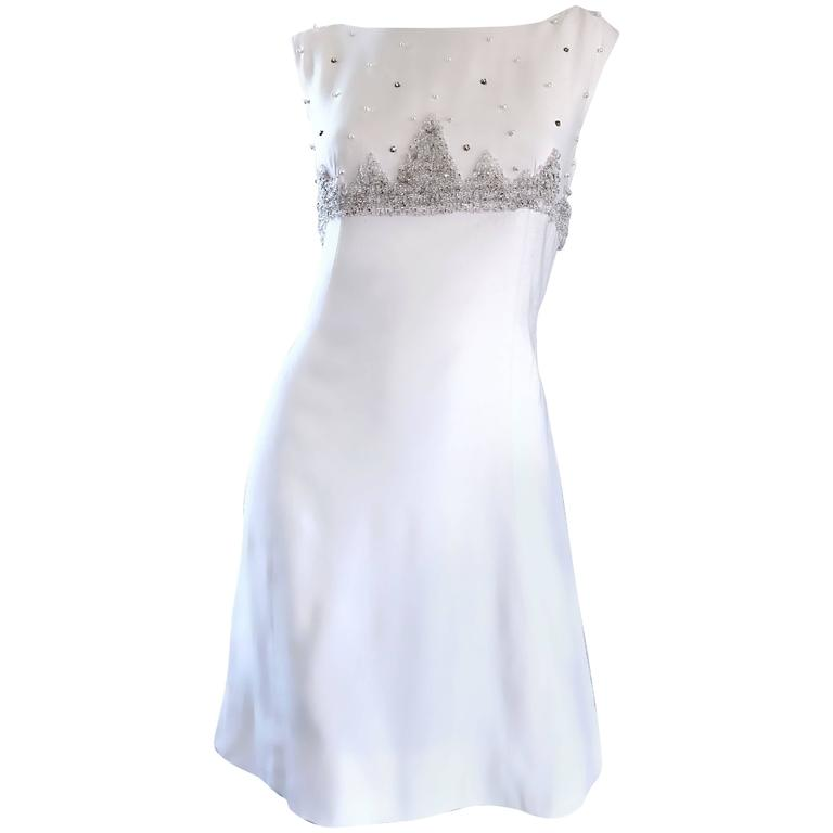 de73f4a5a2 Beautiful 1960s White Linen Beads + Pearls + Sequins A - Line 60s Shift  Dress For