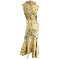Sensational 1960s Demi Couture Yellow Beaded Silk Brocade Vintage Mermaid Gown