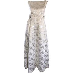 Amazing 1960s Demi Couture Silver and Gold Silk Brocade Rhinestone Vintage Gown