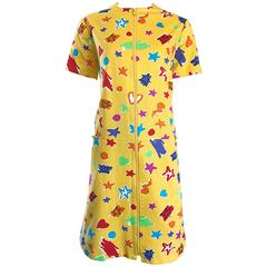 Geoffrey Beene Vintage Hearts and Stars Yellow Colorful Rare Cotton Shift Dress