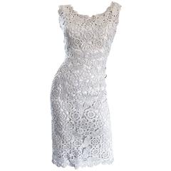 Beautiful 1950s White + Silver Raffia Hand Made Vintage 50s Wiggle Couture Dress