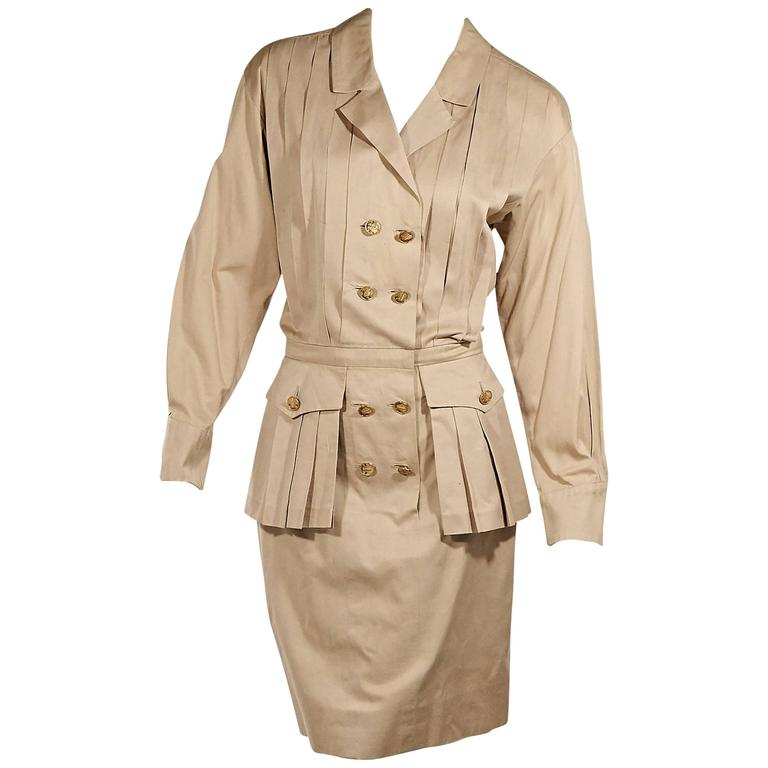 Tan Vintage Chanel Pleated Dress