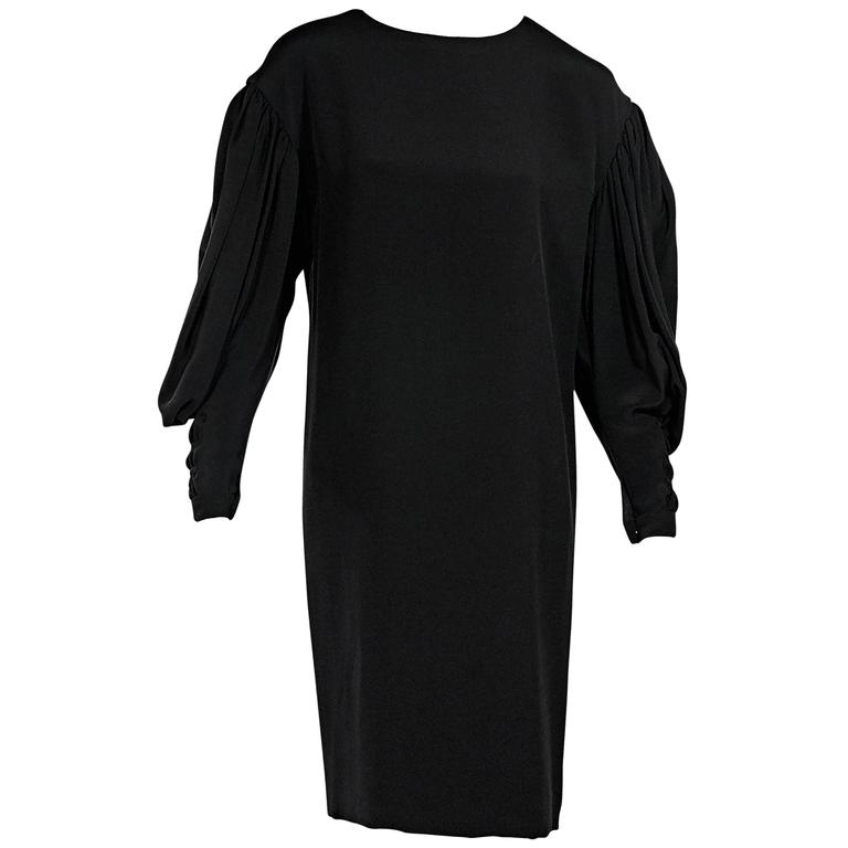 Black Vintage Chanel Long-Sleeve Dress For Sale
