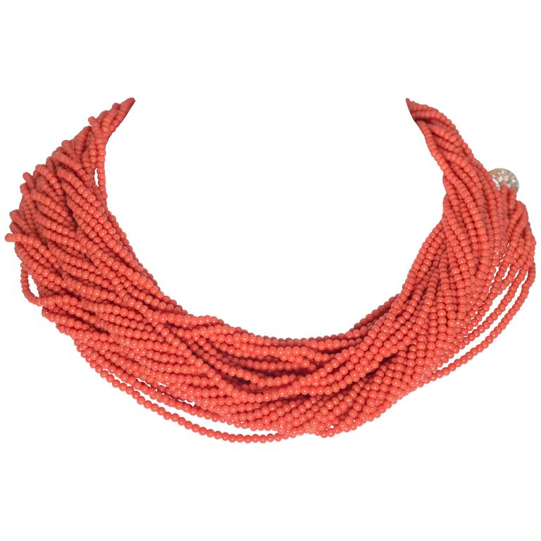 Fabulous Faux 60 Inch Long Vintage Coral Bead Twist Necklace For Sale