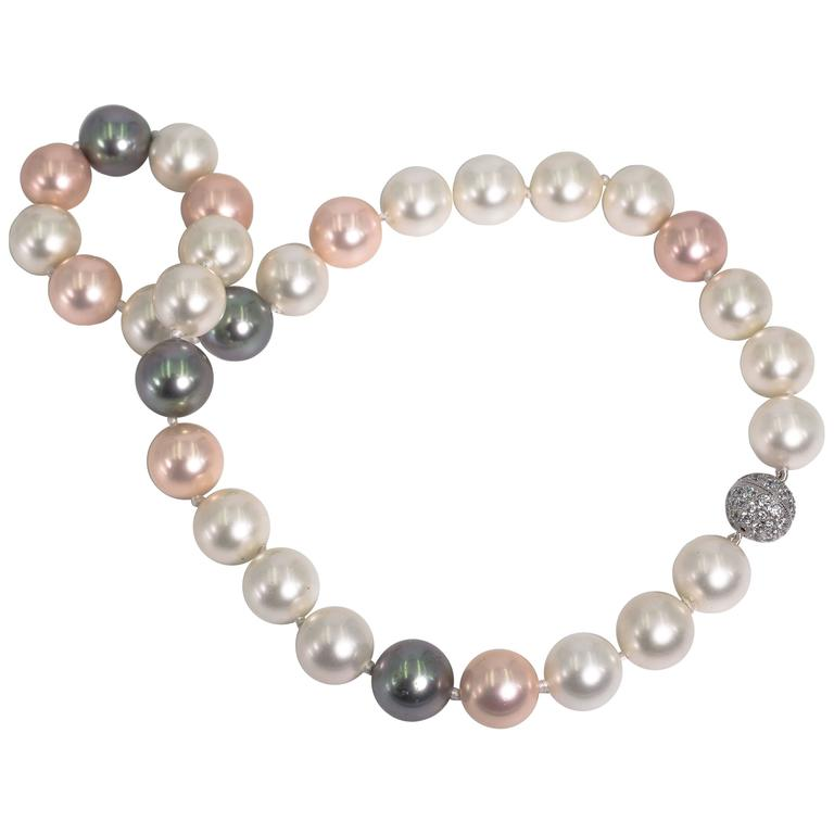 Faux 16mm South Sea White, Grey And Pink Pearl 21'' Necklace 1