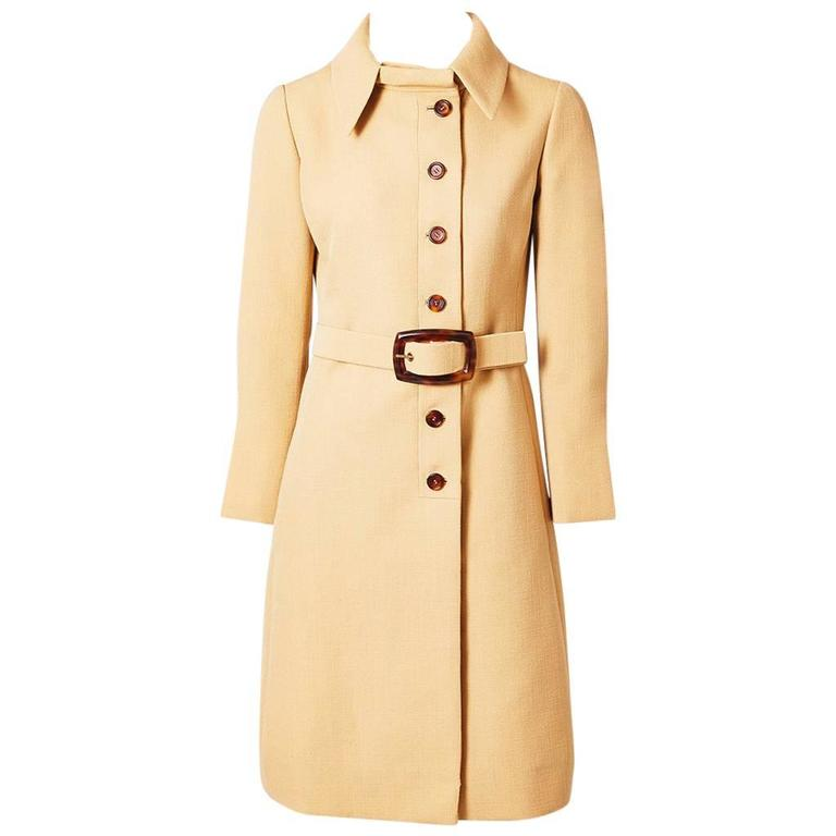 Galanos Wool Belted Coat With Tortoise Detail 1