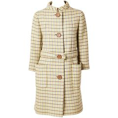 Norell Belted Plaid Coat