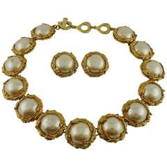 Yves Saint Laurent YSL Vintage Pearl Necklace and Earrings Set