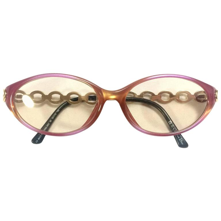 Vintage Christian Dior pink and orange gradation sunglasses with golden chain
