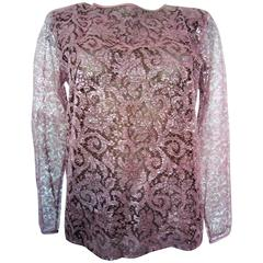 YVES SAINT LAURENT lace and silk pink blouse