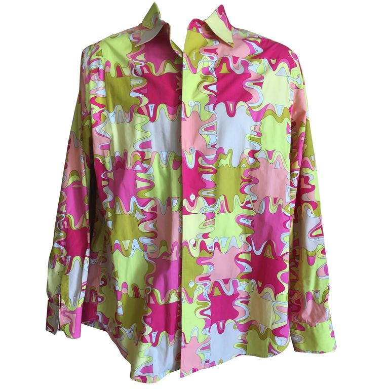 Emilio Pucci Rare Men's Cotton Shirt XL 1