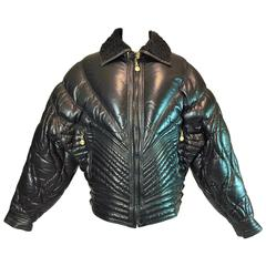 A/W 1992 Gianni Versace Men's Bondage Apres Ski Black Leather Jacket Coat