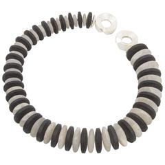 Stunning Iconic Black Obsidian and Crystal Sterling Silver Statement Necklace