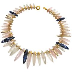 Iconic Crystal Quartz and Sodalite Spear Statement Necklace