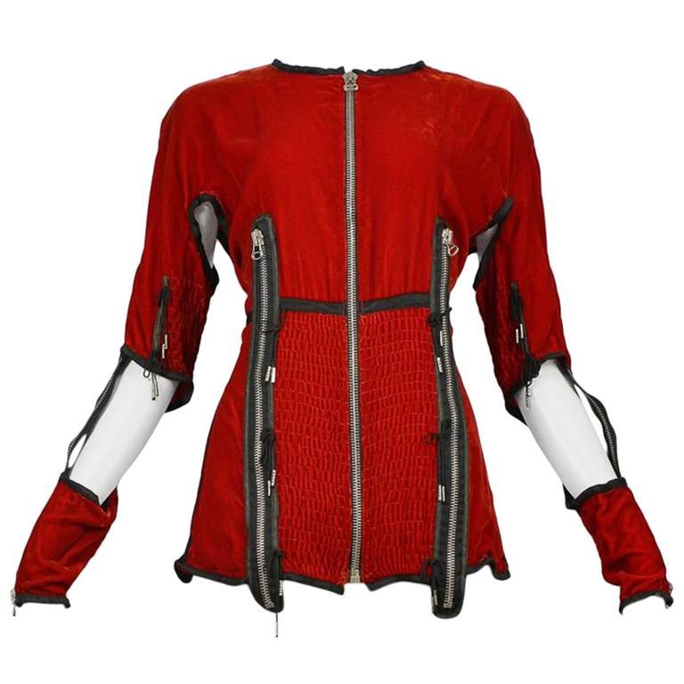 Jean Paul Gaultier Red Velvet Jacket 1989