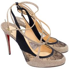 Christian Louboutin Gold and Black Lace Sling Back Pumps
