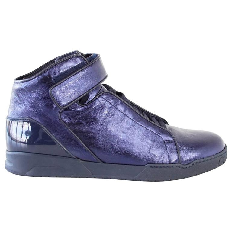 Gucci Shoe Men's Midnight Blue Nappa Silk Leather High Top Sneaker  9.5 new