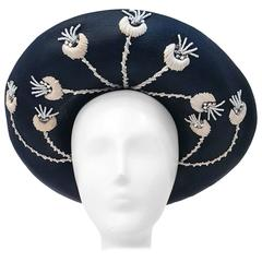 80s Jack McConell Black Straw Hat w/ White Flowers