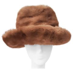 70s Natural Brown Mink Brimmed Hat