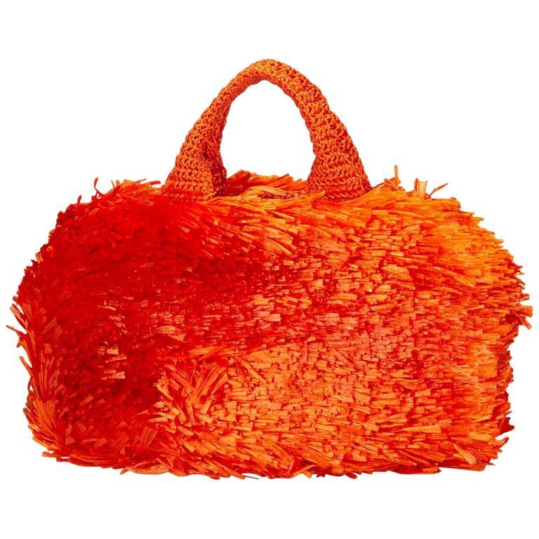 bc54188dfea5 ... inexpensive orange prada raffia handbag for sale 7c3f8 ddef0
