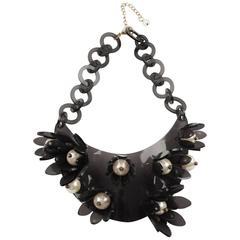 1980s Italian Designer Transparent Grey Lucite Bib Necklace Huge Flowers & Pearl