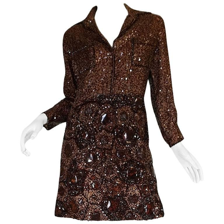 c.1966 Christian Dior Sequin & Tortoise Shell Demi-Couture Dress 1